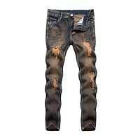 Vintage Style Men Cotton Ripped Tight Jeans