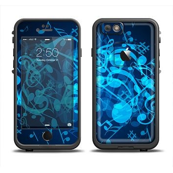 The Glowing Blue Music Notes Apple iPhone 6 LifeProof Fre Case Skin Set