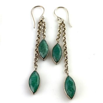 Emerald Chain Sterling Silver Earrings