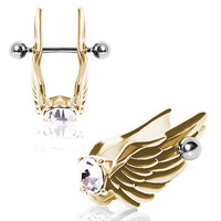 Gold-Plated Feathered Angel Wings with Glass/Gem Cartilage Earring