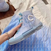 Dior new alphabet canvas shoes mid-top lace-up sports casual sneakers haze blue women's shoes