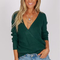 Knitted Wrap Sweater Pine Green