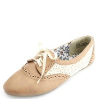 Crochet & Ribbon-Laced Oxfords by Charlotte Russe - Tan
