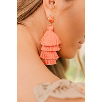 Feeling Bubbly Tassel Earrings (Coral)