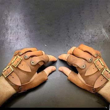 Medieval Steampunk Leather Gloves Battler Full Contact Fight Larp Arm Guard Armor Vikings Accessory Costume For Men Women