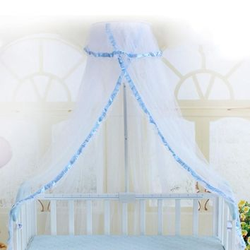 Baby Mosquito Net Summer Baby Bed Net Crib Netting Mosquito Net Baby Infant Canopy Round Bed Canopy for Cribs Not Include Holder