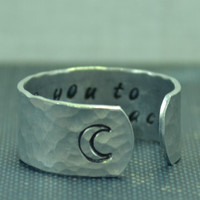 I Love You to the Moon and Back Secret Message Ring, Cuff Ring , Adjustable Ring