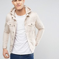 River Island Denim Jacket With Hood In Ecru at asos.com