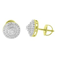 Solitaire Prong Set Earrings Round 14k Gold Finish Simulated Diamonds Screw Back Studs