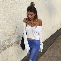 2016 Hot Women's Autumn Winter Long Sleeve Knitted Sweaters Pullover Sexy V Neck Short Sweaters Jumper Crop Tops White Plus Size