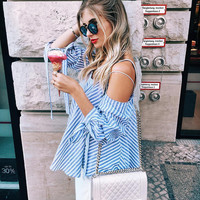 2017 Off The Shoulder Neckline Shirt Blouse Top Casual Party Playsuit Clubwear Bodycon Boho Top Shirt T-Shirt [9169909261]