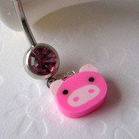 Belly Button Ring, Belly Button Jewelry, Navel Ring, Kawaii Belly Button Ring, Pink Pig