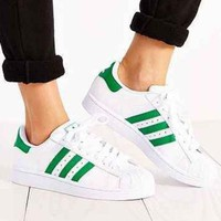 """Adidas"" Fashion Shell-toe Flats Sneakers Sport Shoes Green"
