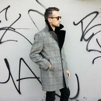 60s Plaid Overcoat with Faux Fur Collar by Lakeland