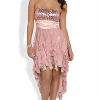Strapless Sequin Dress with Tendril High Low Skirt and Glitter Mesh