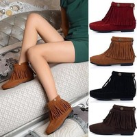 New 2015 Fashion Boho Flat Fringed Faux Suede Ankle Boots Booties Oxfords Moccasin 4 C