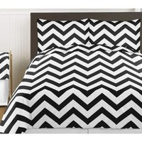 Black and White Chevron 4 Piece Childrens and Kids Zig Zag Girl or Boy Twin Bedding Set Collection