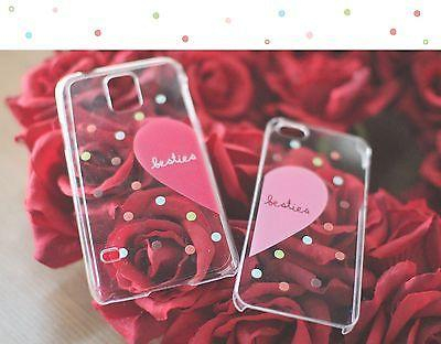 Image of Besties Matching Clear Phone Case Set for BFF - iphone 4 5 5C Galaxy S3 S4 S5