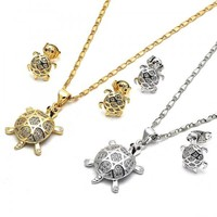 Gold Layered Earring and Pendant Adult Set, Turtle Design, with Micro Pave, Golden Tone