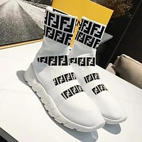 FENDI Woman Men Fashion Short Socks Boots Shoes