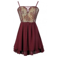Lily Boutique Wine Lace Dress, Cute Burgundy Dress, Wine Lace Party Dress, Burgundy Holiday Dress, Burgundy Lace Party Dress, Cute Juniors Dress, Renaissance Woman Studded Lace Dress in Wine Lily Boutique