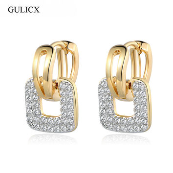 GULICX Brand 2017 Unique Square Shaped Piercing Small Huggie Hoop Earring for Women Gold-color Earing Round CZ Jewelry E218