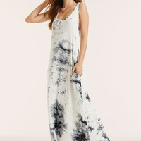 SBetro Lace Trim Mesh Insert Tie Dye Maxi Tank Dress