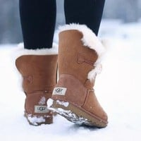 """""""UGG"""" Winter Stylish Women Wool Snow Boots Brown I/A"""