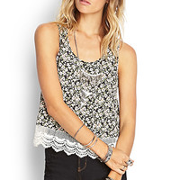 Flared Floral Crochet Tank