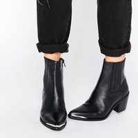 ASOS RENETA Leather Western Chelsea Boots at asos.com
