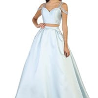 Prom Long Dress Two Piece Set Ballgown Formal