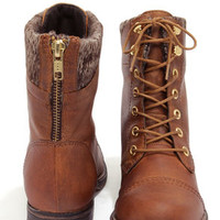 Steve Madden Jacksin Cognac Leather Lace-Up Boots