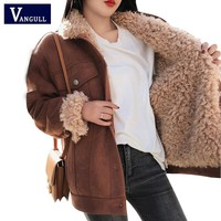 Winter Jacket Thick Fur Wool liner Coats Women Parkas Fashion Faux Fur Lined Bomber Jackets Warm Outwear 2018 New VANGULL