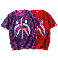 Bape Aape New fashion shark print camouflage top t-shirt
