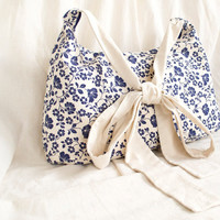 Navy Blue and White Nautical Floral Shoulder Crossbody Tote Bag