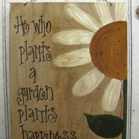 Hand Painted Primitive Daisy Garden Sign by gainerscreek on Etsy