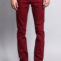 Men's Skinny Fit Colored Jeans (Burgundy)