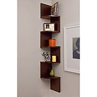 Laminated Walnut Veneer Corner Wall Mount Shelf  | Overstock.com