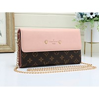 LV fashion hot selling sexy lady print Mosaic color shopping shoulder bag Pink