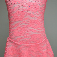 Coral Lace Figure Skating Dress / Ice Skating Dress / Baton Twirling Dress / Dance Dress