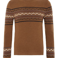 Brown Triangle Pattern Jumper - View All  - New In