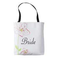 Peach and Pink Flowers Bride Tote