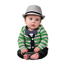 Cardigan and Bow Tie Onesuit Set - Green with Navy Polka Dots - Trendy Baby Boy