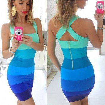 Color Block Striped Back Zippered Bodycon Dress