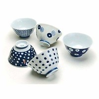 Saikai Pottery Traditional Japanese patterns blue and white, Japanese rice bowl set of 5 13303 from Japan: Rice Bowls