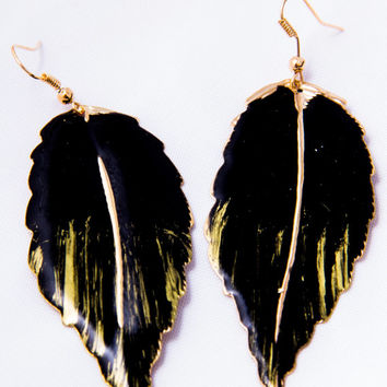 Black and Gold Leaf Earrings-Elegant-Classy-Accessories