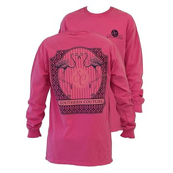 Southern Couture Preppy Flamingo Comfort Colors Crunchberry Girlie Long Sleeve Bright T Shirt