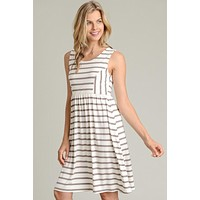 Simple Stripes Sleeveless Dress - Dark Cocoa