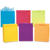 10 1/2W x 13H x 5 1/2G Large Matte Bright Color Gift Bag in 6 Colors/Case of 120