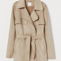 Short Faux Suede Jacket - Beige - Ladies | H&M US